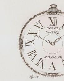 Zeit, Taschenuhr, Liebe, Bleistiftzeichnung