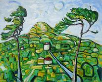 Berge, Expressionismus, Baum, Impressionismus