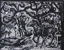 Pferde, Gesicht, Wald, Lichtung