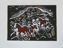 Pferde, Kunst te koop, Linoleografia, Linoldruck