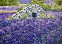 Lavendel, Borie, Landschaft, Malerei