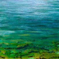 Fluss, Grün, Doubs, Malerei