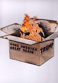 Kiste, Feuer, Trump, Karton