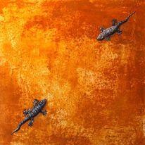 Wand, Geckos, Erdfarben, Malerei