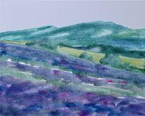 Feld, Provence, Lavendel, Aquarell