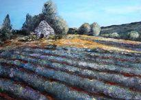 Acrylmalerei, Lavendelfeld, Malerei, Landschaft