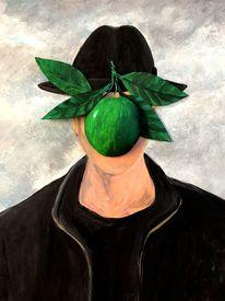 Magritte, Apfel, Portrait, Malerei