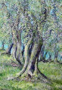 Herbst, Olivenbaum, Toskana, Malerei