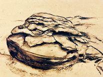 Landschaft, Stein, Kohlezeichnung, Zeichnungen
