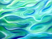 Wasser, Welle, Blau, Malerei