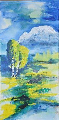Frühling, Acrylmalerei, Grimming, Ennstal