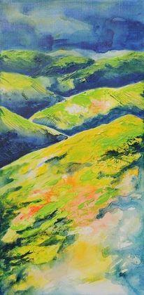 Frühling, Hügelland, Malerei, Steiermark