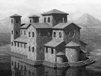 Glockenturm, Spiegelung, Grau, Schatten