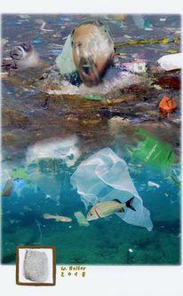 Ozean, Fingerabdruck, Plastikmüll, Digitale kunst