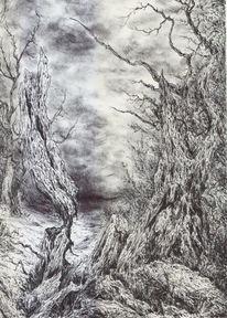 Baum, Wald, Alte meister, Wolken