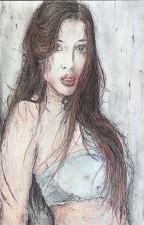Frau, Sinnlichkeit, Long hair, Kugelschreiber