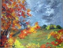 Wald, Herbst, Ölmalerei, Bäum