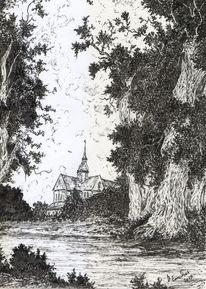 Gotik, Wald, Alte meister, Zeichenfeder
