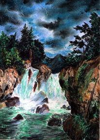 Felsen, Pastellmalerei, Wasserfall, Landschaft
