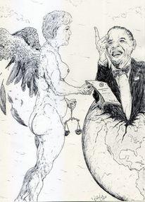 Karikatur, Engel, Brd, Angela merkel