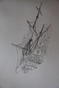 Schiffsfriedhof, Romantik, Bleistiftzeichnung, Alte meister