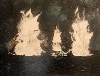 Ölmalerei, Düster, Shiffe, Wasser