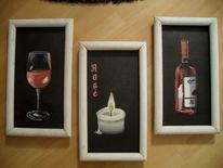 Kerzen, Rahmen, Flasche, Glas