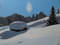 Verwehung, Hütte, Felsen, Schnee