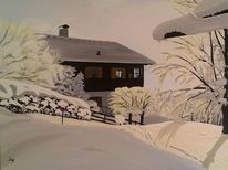 Winter, Berge, Haus, Hecke