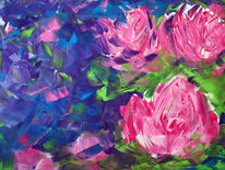 Malerei, Pflanzen, Seerosen
