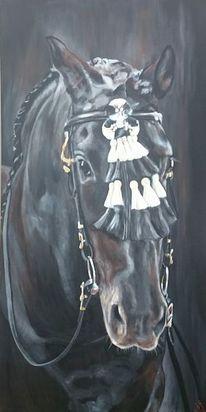 Pferde, Rappe, Pferdekopf, Malerei