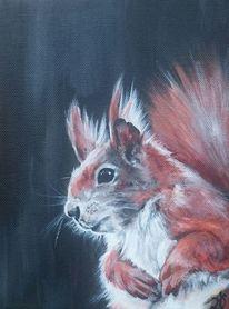 Eichhörnchen, Waldtiere, Portrait, Malerei