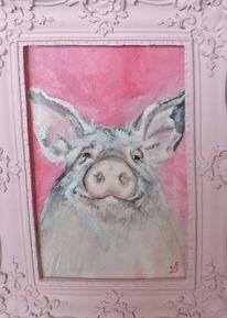 Glücksbringer, Rosa, Schwein, Malerei