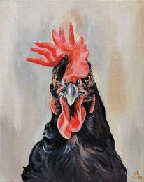Hühnerbild, Hahn, Gockel, Malerei