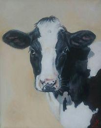 Holsteiner, Kuhportrait, Kuh, Malerei