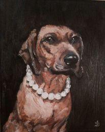 Perlenkette, Hundeportrait, Bayrischer gebirgsschweisshund, Malerei