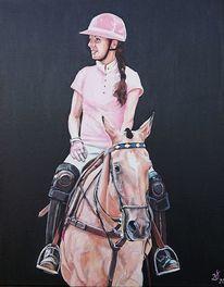 Polo, Frau, Pferde, Malerei