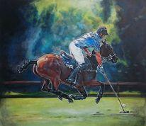 Pferde, Polosport, Wald, Polo