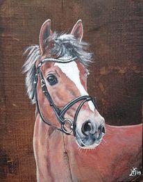 Eichenbrett, Pony, Pferde, Malerei