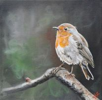 Vogel, Rotkehlchen, Äste, Malerei