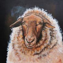 Portrait, Landleben, Schaf, Malerei