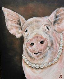 Schwein, Perlenkette, Malerei,