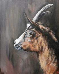 Ziegen, Bauernhoftiere, Zicke, Malerei
