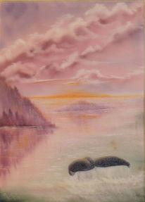 Walflosse, Nass, Spiegelung, Ölmalerei
