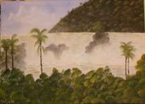Palmen, Wasserfall, Nass, Bob ross