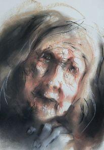 Frau, Pastellmalerei, Portrait, Zeichnungen