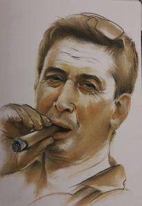 Mann, Portrait, Macho, Pastellmalerei