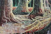 Bäume wurzeln moos, Malerei, Pflanzen