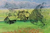 Landschaft, Österreich, Alpen, Ölmalerei