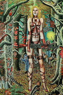 Wald, Guns, Dämon, Frau